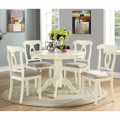 Farmhouse Dining Set 5 Piece Table Chair Ivory Round Pedestal Wood Small Kitchen Ebay