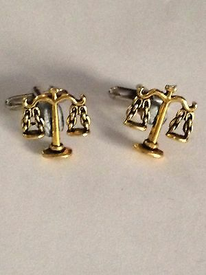 Pins & Brooches Amiable Golden Libra Scales Pt267 Silver Emblem On A Pair Of Cufflinks Weddings Birthday Clearance Price