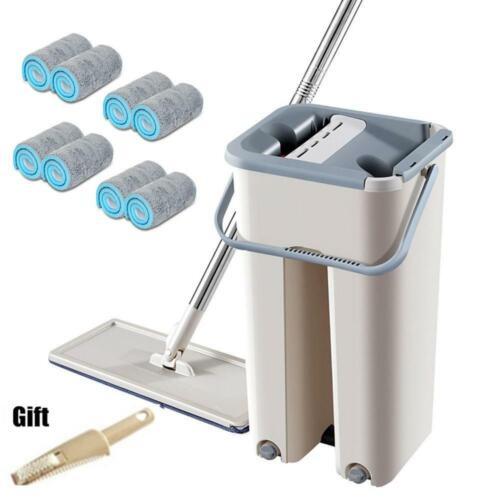 Hard Floor Flat Mop Microfiber Magic Mops Bucket Cleaner Cleaning Dirty Hair Dry
