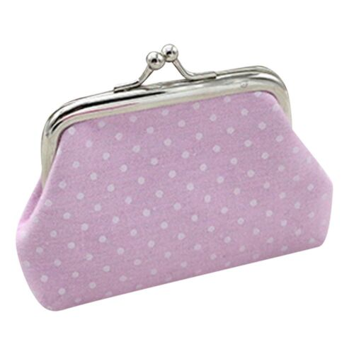 Women Lady Girls Small Coin Clasp Wallet Purse Pouch bag Polka Dots Design