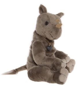 Vinnie collectable plush rhino / rhinoceros toy by Charlie Bears - CB185162