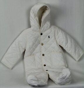 Children POLO RALPH LAUREN CREAM PUFFER SKI HOODED SNOWSUIT COAT JACKET NWT $115