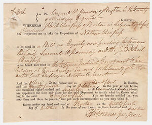 1817-Boston-MA-Court-Deposition-Summons-Signed-by-Justice-of-Peace-amp-Constable