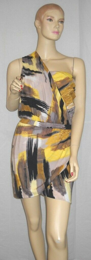 NWT T-Bags Paint Print One Shoulder Dress Small