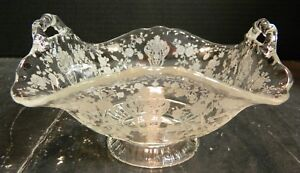 Vintage-Etched-Footed-Fostoria-Rose-Double-Handled-Square-Bowl-3-75-034-x-4-034-Excell