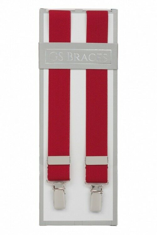 Red Slim Thin 25mm Trouser Braces Suspenders Mens Silver Clips XL Extra Long