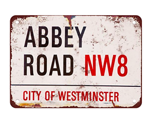 ABBEY ROAD Vintage Beatles METAL TIN Album London Retro Street Sign 30cm x 20cm