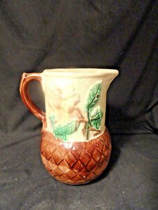 Strawberry-Flower-Basketweave-Majolica-Pottery-Pitcher-As-Is-Antique