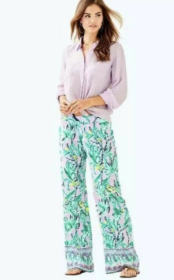31. NWT Lilly Pulitzer Bal Harbour Palazzo Verbena It's Impawsible S Koala purplec