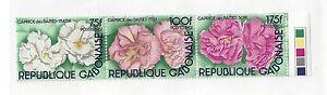 GABON-515-MNH-STRIP-OF-3-FLOWERS-1982