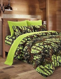Image Is Loading 7 Piece FULL SIZE Neon LIME Green Bedding