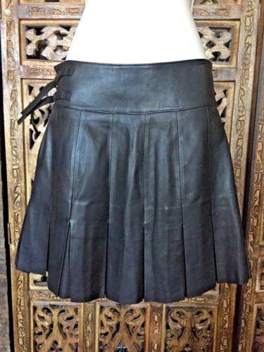 RIZAL Pleated Leather Mini Skirt Woman Size 40 (US