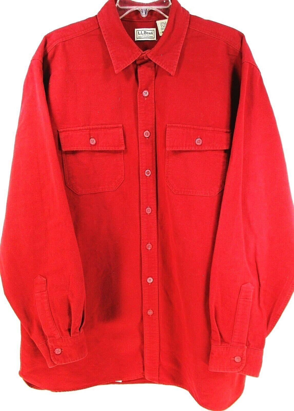 736b82701deb46 LL Bean Men Button Up Shirt Size XLT Red 100% Cotton 2 Flap Button ...