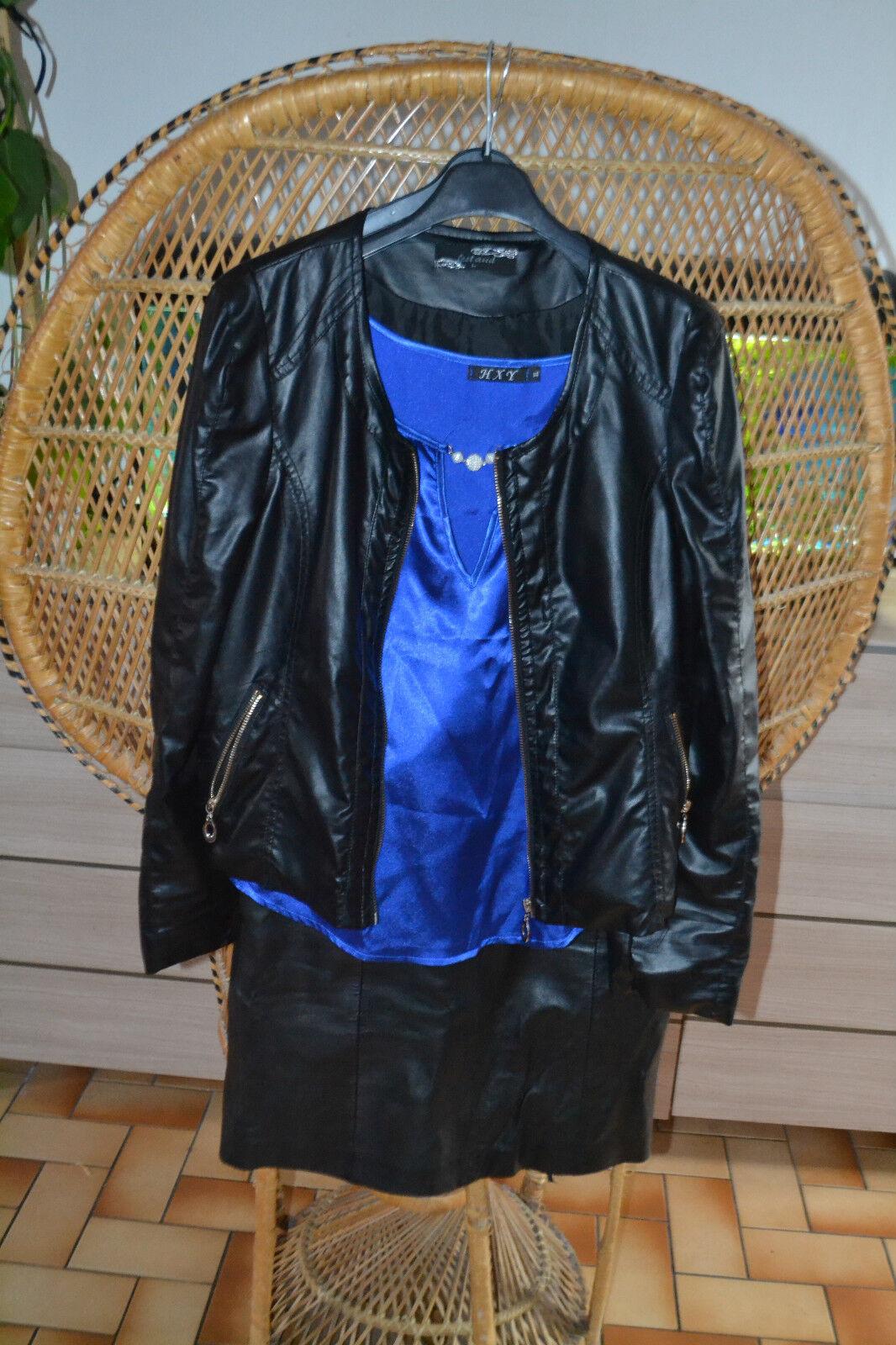Superbe tenue sexy pour 38-40 38-40 38-40 simili cuir, veste + jupe occasion + 1 haut neuf 8ec3a0