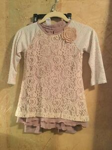 19c1d0fa5 PIPPA AND JULIE Toddler Girl s Beige Flower lace 2 Piece Size 6 Top ...