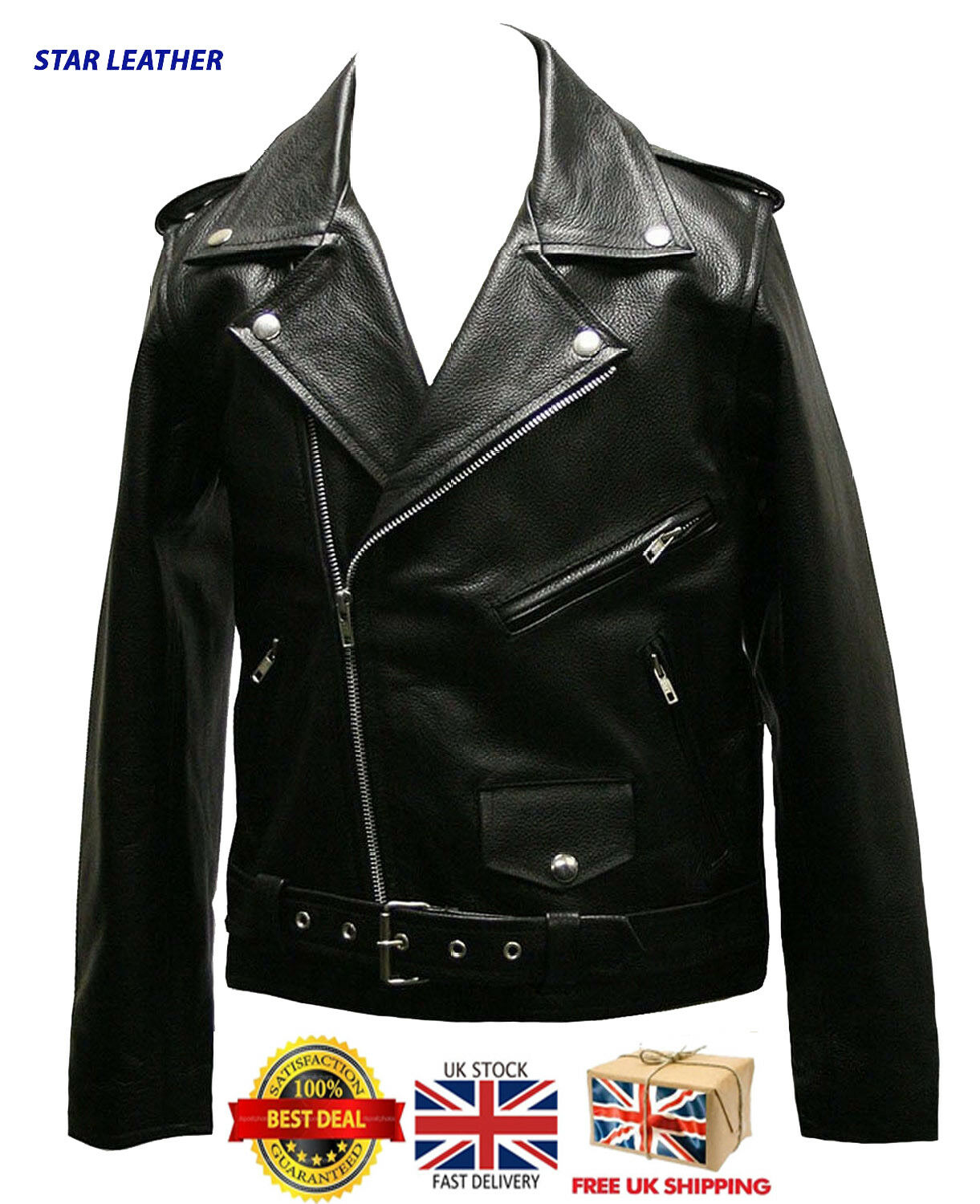 UK Stock Kids Real Leather Motorcycle Genuine Marlon Brando Biker Jacket 24-38