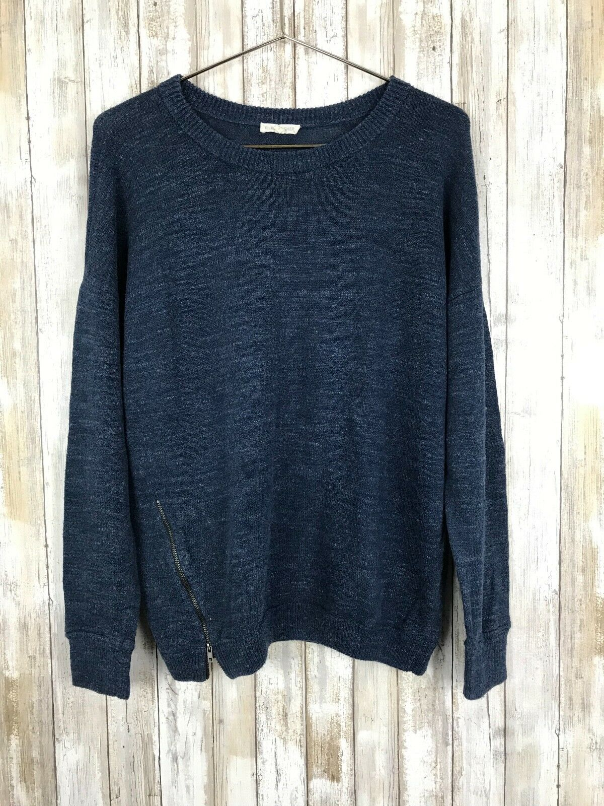 Eileen Fisher Cotton bluee Heathered Heathered Heathered Sweater Side Zipper Oversized Top S Small 5f70b6