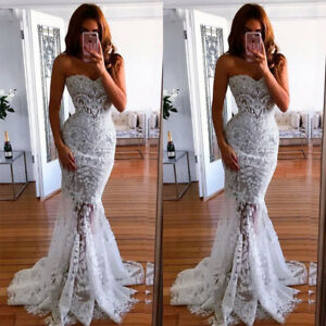 Women-039-s-Strapless-Mermaid-Evening-Dress-White-Lace-Party-Ball-Gown-Prom-Dress