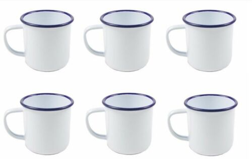 6 x Falcon Traditional Enamel White Mug 8cm x 284ml