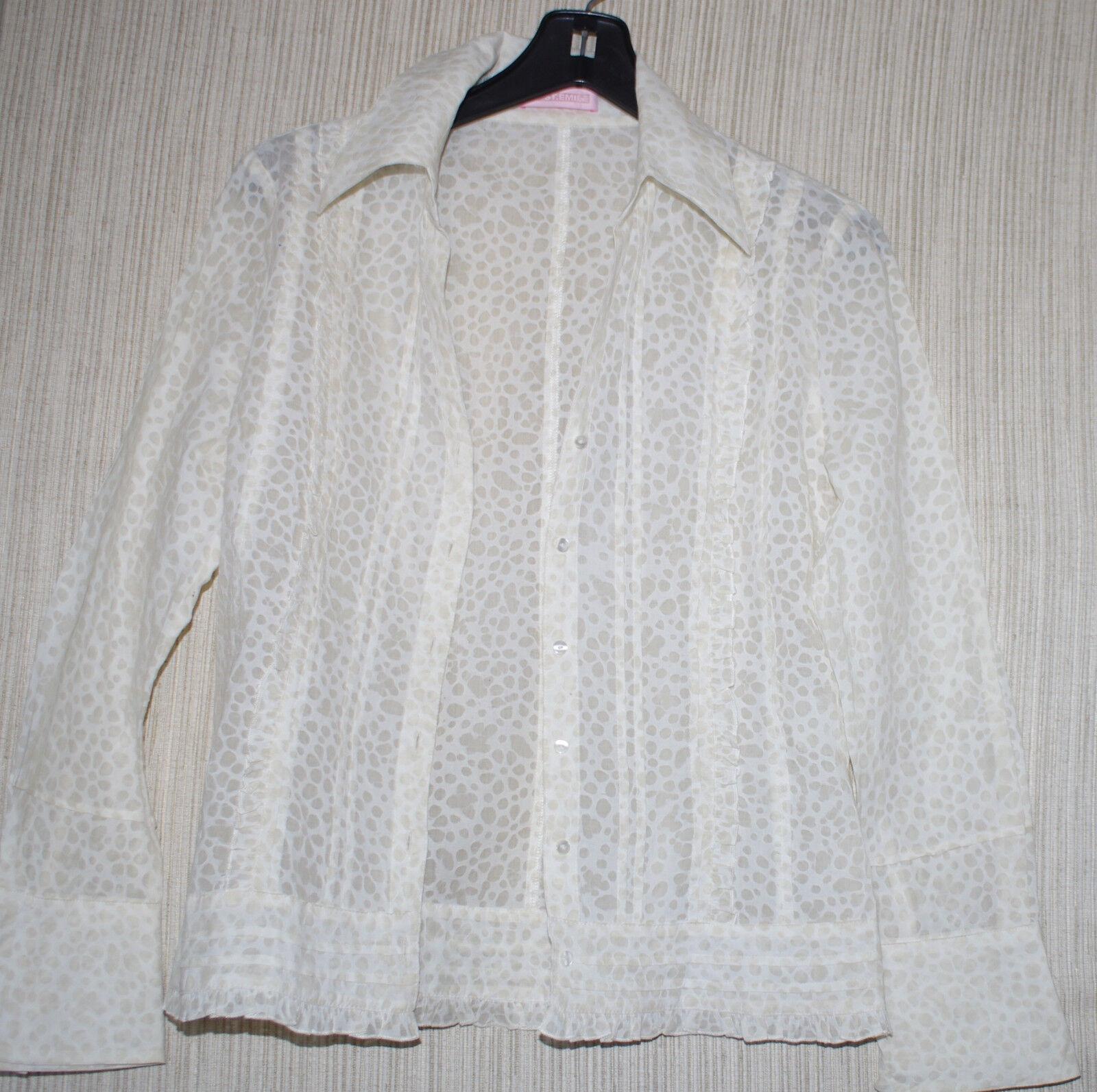 St.emile Cream Cotton Beige Print Blouse Button-down Top Größe  6