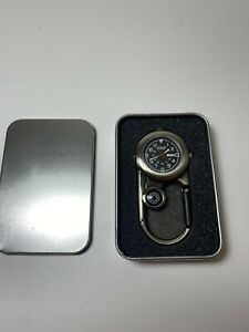 HUMVEE Explorer Led Clip Watch with Gift Box Compass Chrome Silver SS Flashlight
