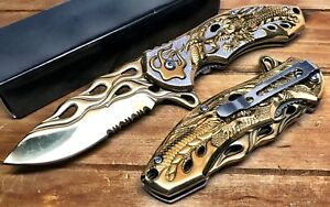 """8"""" Pocket Knife Spring Assisted Dragon Ball Fiery Hunting Tactical Folding Gold"""
