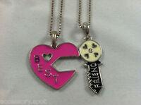 Bff Best Friend Heart & Key Pink & Black 2 Pendant 2 Necklace Friendship Bff
