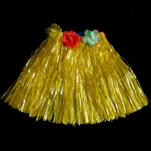 Kids Adult Hawaiian Hula Grass Skirt Flower Wristband Party Beach Dress SE