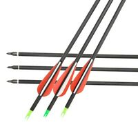 6pcs 30 Carbon Arrow Spine 500 F Compound/recurve Bow Replaceable Arrowhead
