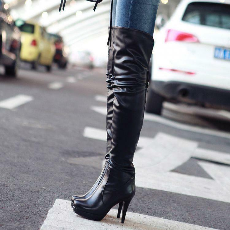 Women Leather Pull On Autumn High Heel Platform Casual Over The Knee Knight Boot