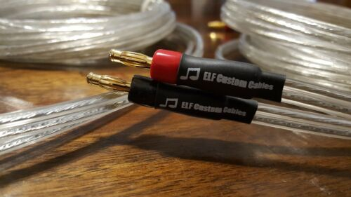 ELF Custom Cables Silver Surfer OCC Silver Speaker Cables 15ft w// banana plugs