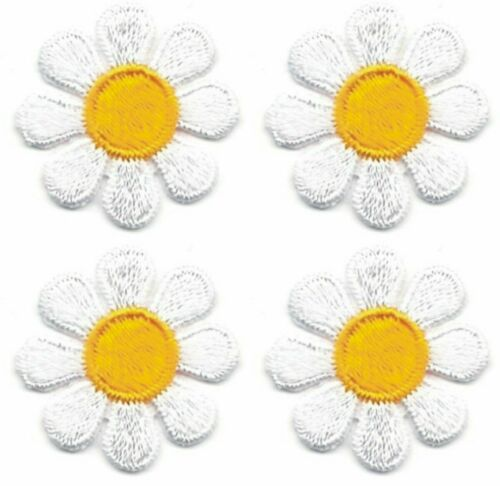 """1/"""" Spring White Yellow Daisy Flower embroidery patch Lot of 4"""
