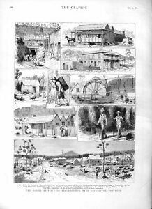Original-Old-Antique-Print-1883-Mining-District-Beaconsfield-Tasmania-GMine