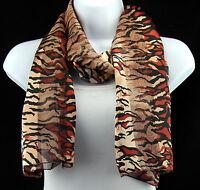 Safari Stripes Womens Animal Print Fashion Scarf Gift Gold & Black Scarves