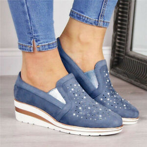 Womens-Slip-On-Pumps-Shoes-Ladies-Wedges-Rhinestone-Casual-Loafers-Trainers-Size