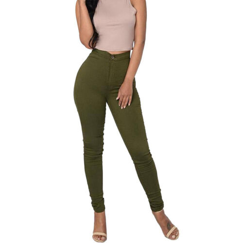 Womens High Wait Stretchy Jeans Leggings Skinny Slim Casual Long Pants Trousers