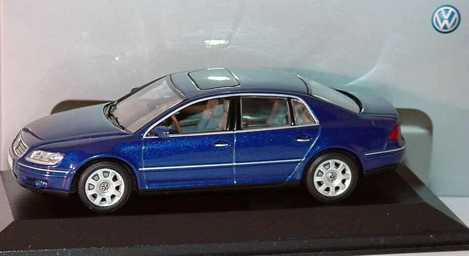 VW Phaeton GP1 W12 2002-2007 Blu V6 V8 V10 TDI 1:43 Minichamps  modello concessionario