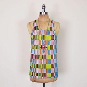 Vintage-80s-90s-Grunge-Club-Kid-Rave-Geometric-Print-Sheer-Mesh-Shirt-Tank-Top-S