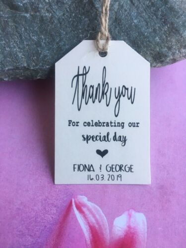 Personalised Thank you Tags Thanks Wedding Special Day Craft Tied the Knot DFS71