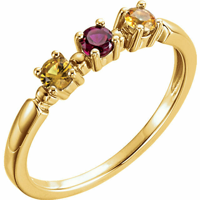 Mother's Day Ring 10K or 14K Solid gold 1 to 3 Birthstones, Moms Jewelry Ring