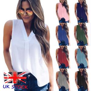 UK-Womens-Vest-Cami-Chiffon-T-Shirt-Sleeveless-Blouse-Ladies-V-Neck-Summer-Tops