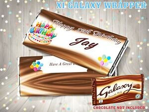 Image Is Loading PERSONALISED Birthday Cake CHOCOLATE BAR WRAPPER Fits Galaxy