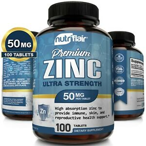 NutriFlair-Zinc-Gluconate-50mg-100-Tablets-Immune-System-Booster-amp-Support
