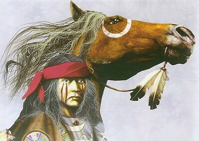 Blank Notecard : BRAVE IN WAR PAINT & HIS HORSE - by JD Challenger & Tree Free!