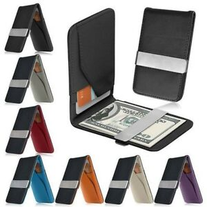 Mens-Leather-Silver-Money-Clip-Slim-Wallets-Black-ID-Credit-Card-Holder-FreeShip