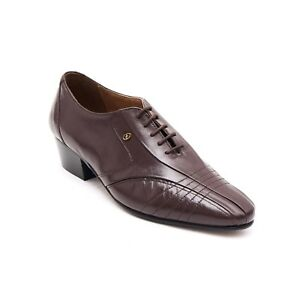 b0353d29afe Details about Mens Leather Lace Up Cuban Heel Pointed Formal Wedding Shoes