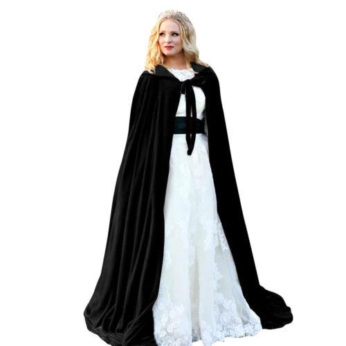 UK Unisex Halloween Hooded Velvet Cloak Robe Medieval Witchcraft Cape Costume
