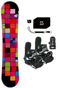144-Sionyx-Quilt-Womens-Snowboard-BLK-Bindings-Stomp-Leash-burton-Decal-Package