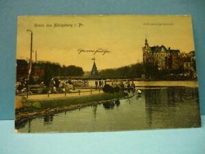 AK (578) Königsberg-Schlossteichpromenade-gelaufen-1908