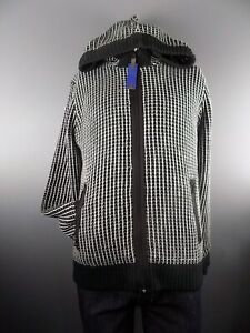 Men-039-s-Striped-Quilted-Lining-Warm-Zip-Up-Hoodie-Cardigan-Jacket-Black-Blue-L-XL